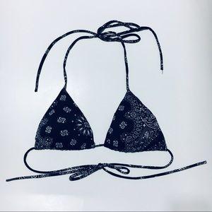 🌹See You Monday Black Paisley String Bikini Top
